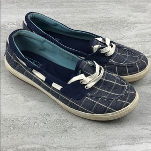 Keds Blue and White Canvas Boat Shoes